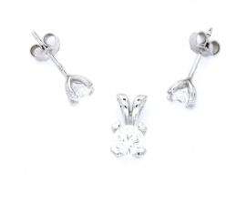 Zmysłowy komplet  biżuterii wykonanej z białego złota, zdobiony lśniącymi cyrkoniami
