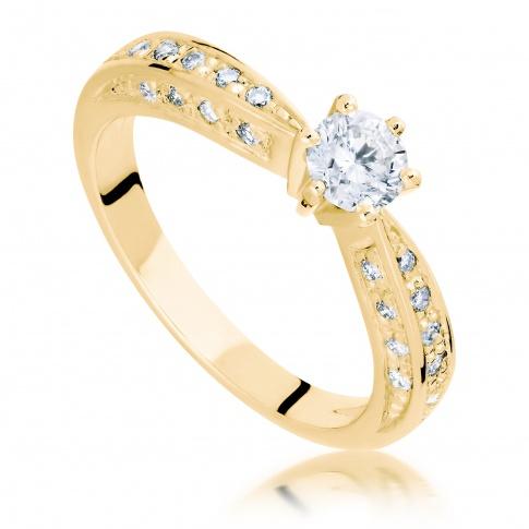 Olśniewający pierścionek w stylu Tiffany z brylantami o masie 0,77 ct wykonany z zółtego złota