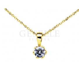 Luksusowa zawieszka z żółtego złota próby 585 z wiecznym brylantem 0,08 ct