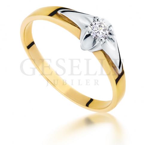 Nowoczesny pierścionek zaręczynowy z żółtego  złota pr. 585 z brylantem o masie 0.10 ct