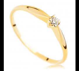 Subtelny, kobiecy pierścionek - klasyczny wzór z brylantem 0.10 ct na zaręczyny