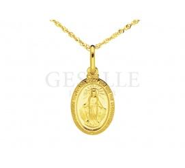 Cudowny złoty medalik próby 585 z Najświętszą Marią Panną