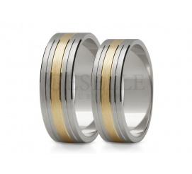 Dwukolorowe obrączki ślubne z białego i żółtego złota z delikatnymi liniami