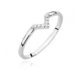 Nowoczesny pierścionek zaręczynowy z białego złota z brylantami 0,04 ct