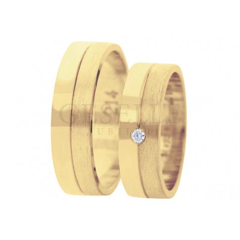Ponadczasowe obrączki ślubne z żółtego złota , szerokość 6 mm