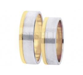 Klasyczne obrączki w ponadczasowym stylu - białe i żółte złoto próby 585, ozdobna krawędź, szerokość 6 mm