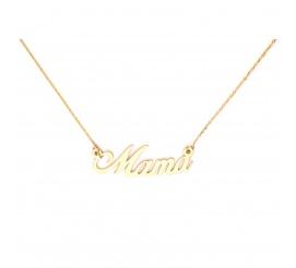 Dzień Matki! - oryginalny złoty łańcuszek celebrytka z napisem MAMA , próby 585