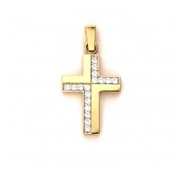 Mały, klasyczny złoty krzyżyk  z lśniącymi cyrkoniami wykonany w próbie 585