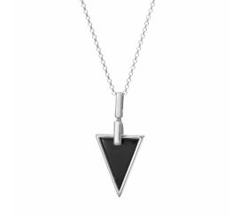 Srebrny naszyjnik rodowany próby 925 - trójkąt z onyksem