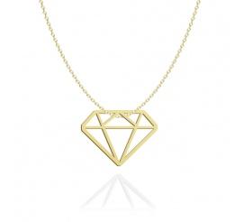 Naszyjnik srebro pozłacane diament ażur