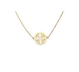 Oryginalny złoty łańcuszek celebrytka kółko z ażurem , próby 333