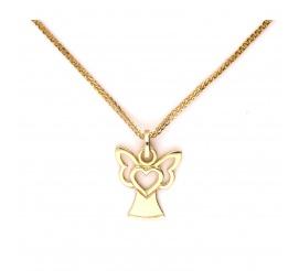 Urocza zawieszka z żółtego złota w kształcie aniołka z serduszkiem