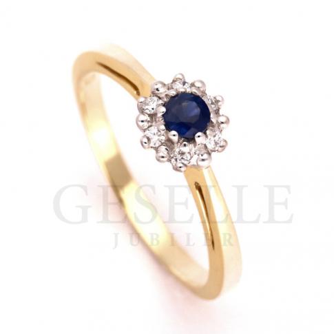 Niepowtarzalny pierścionek na zaręczyny z szafirem naturalnym w otoczeniu sześciu brylantów