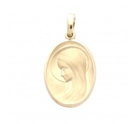 Owalny medalik z żółtego złota próby 585 z wizerunkiem Matki Boskiej - GRAWER W PREZENCIE