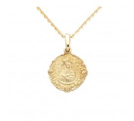 Złoty medalik  z Matką Boską Ostrobramską - idealny prezent na Pierwszą Komunię lub Chrzest Święty