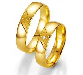 Klasyczny komplet obrączek ślubnych z żółtego złota z brylantem