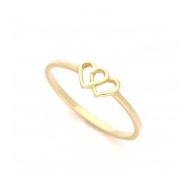 Unikatowy pierścionek z żółtego złota próby 585 z dwoma sercami