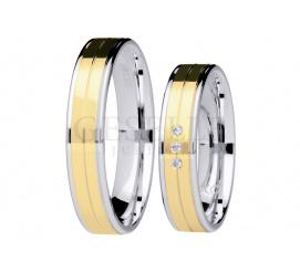Dwukolorowy komplet nowoczesnych obrączek ślubnych z brylantami z kolekcji GESELLE Jubiler - You&Me