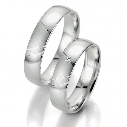 Pełne elegancji obrączki ślubne z białego złota - mat i poler