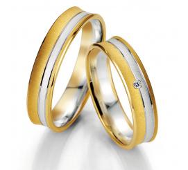 Delikatne obrączki ślubne - dwa pierścienie z białego i żółtego złota - kolekcja SMART LINE