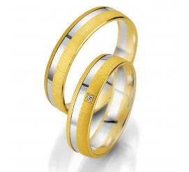Delikatne obrączki ślubne z dwóch kolorów złota - matowe żółte złoto i polerowana linia z białego kruszcu