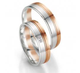 Dwukolorowe obrączki ślubne Breuning - połączenie białego i czerwonego złota
