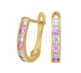 Urocze, złote kolczyki dla dziewczynki - białe i różowe cyrkonie na angielskim zapięciu