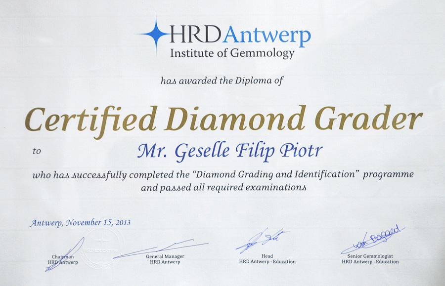 Certyfikat eksperta diamentów zdobyty w Antwerpii - GESELLE Jubiler