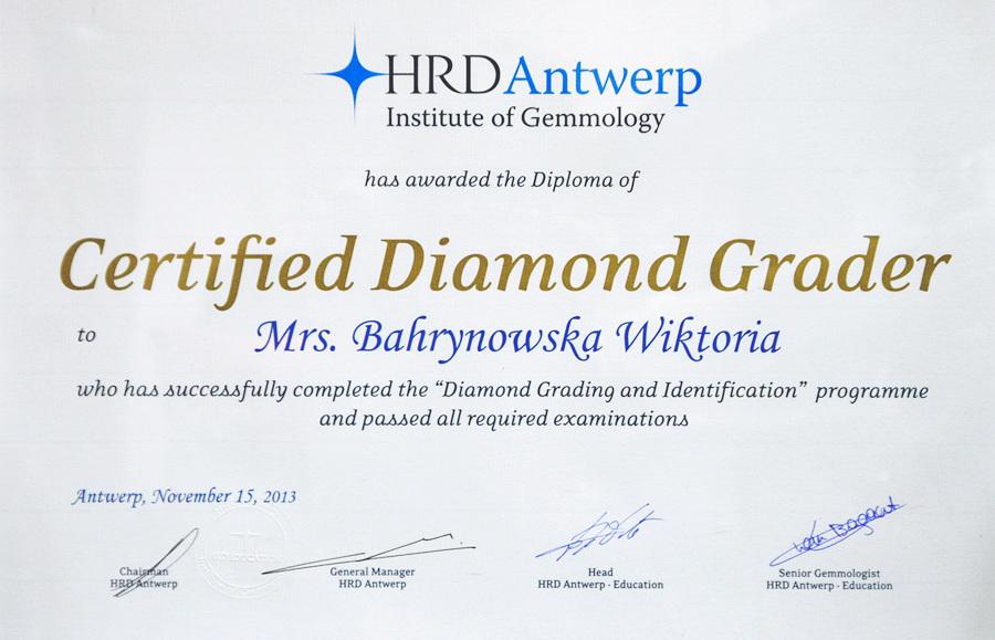 Certyfikat znawcy diamentów wydany w Antwerpii - Wiktoria Bahrynowska - GESELLE Jubiler