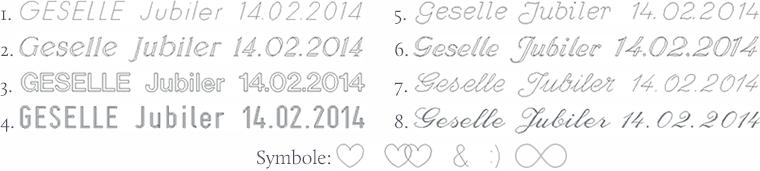 Wzory krojów pisma do grawerowania obrączek ślubnych w pracowni GESELLE Jubiler
