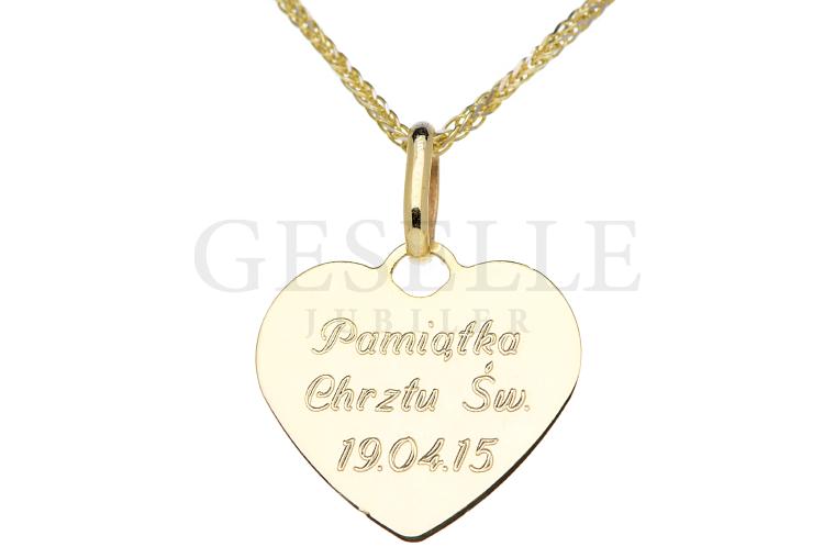 f0eb04e1b5 Wyjątkowa złota zawieszka z grawerem w kształcie serca od GESELLE Jubiler  Wrocław
