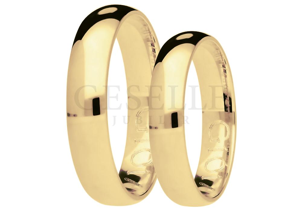Delikatny duet obrączek ślubnych z żółtego złota pr. 585 z ozdobnym matem